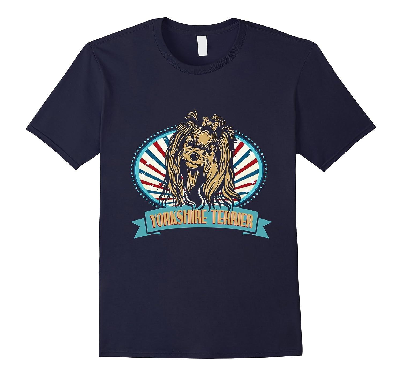 Yorkshire Terrier Dog American Flag T-Shirt Funny Dog Shirt-TH