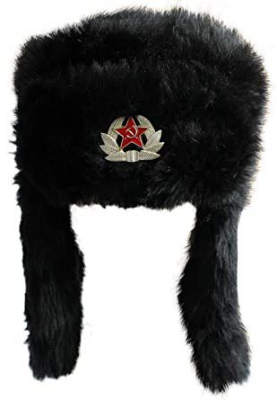 866f8412e79 RUSSIAN TRAPPER HAT FAUX FUR WITH SOVIET BADGE USHANKA COSSACK FLAPS  MILITARY Black