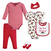 Hudson Baby Unisex Baby Layette, Holly, 6-Piece Set, 0-3 Months (3M)