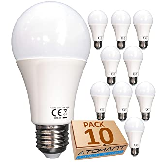 (LA) 10x Bombilla LED A60, Blanco Calido (3000K),12w,