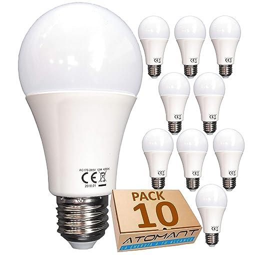 (LA) 10x Bombilla LED A60, Blanco neutro (4500K), 12w,