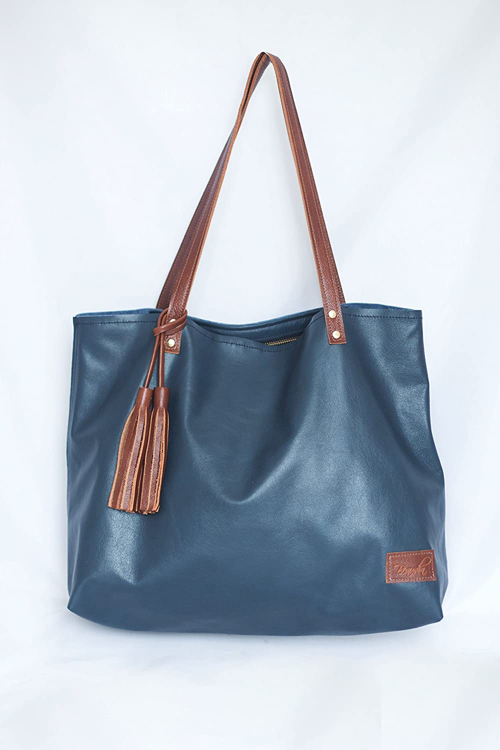 3cd9d9ba63 Amazon.com  Navy Leather Tote - Large Leather Tote Bag for Work ...
