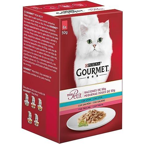 Purina Gourmet Mon Petit comida para gatos con Atún, Salmón y Trucha 8 x [