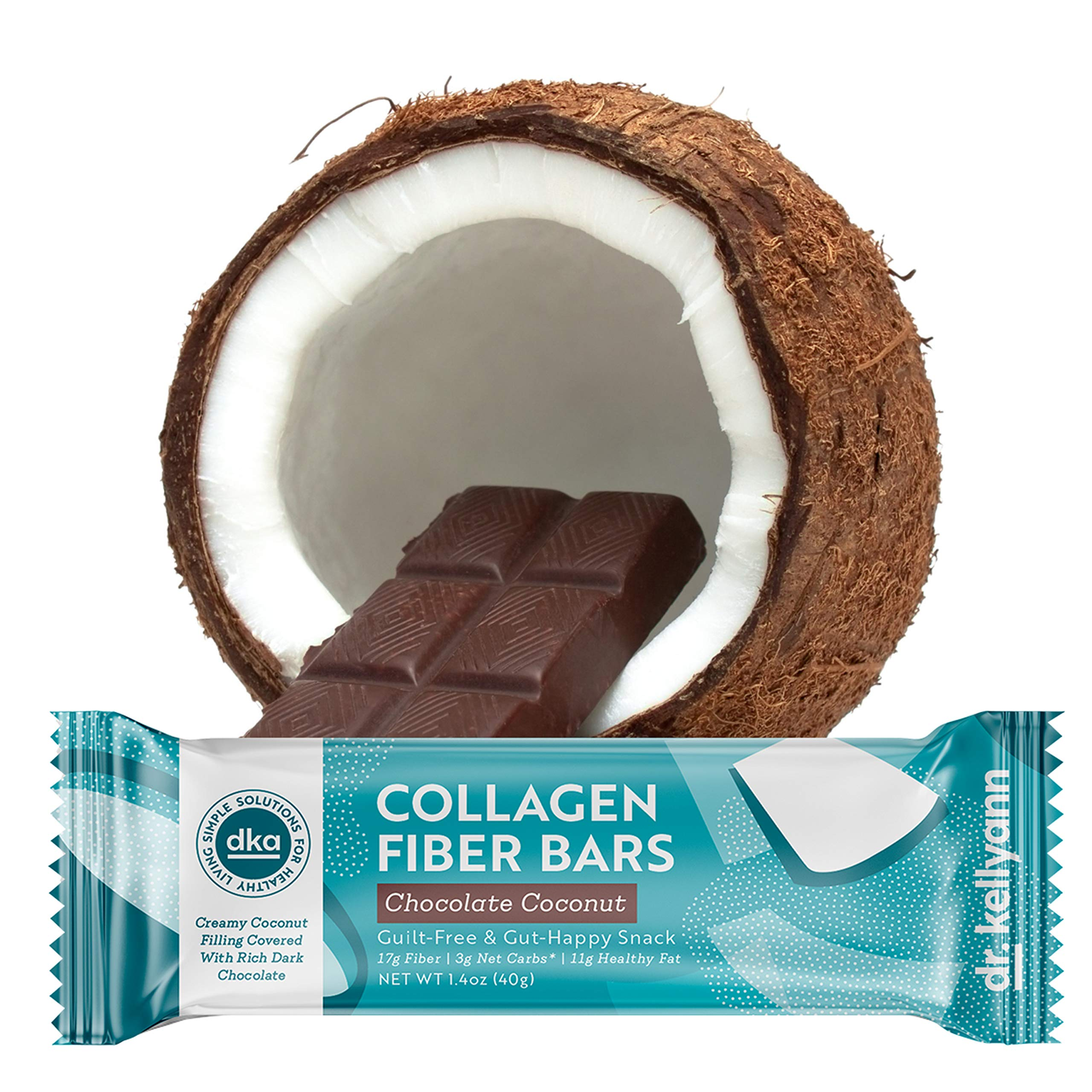 Keto Collagen Fiber Bar - High Fiber, Low Carbs - Dairy Free, Soy Free, Gluten Free, Non-GMO & No Added Sugar - Perfect Keto & Paleo Snack with Creamy Coconut Inside Dipped in Dark Chocolate (12 bars) by Dr. Kellyann (Image #1)