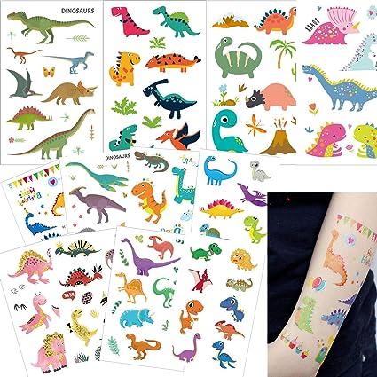 12 Hojas Dinosaurio Tatuajes Temporales, Ouinne Falso Tatuajes Pegatinas Fiestas Infantiles Cumpleaños de Niños Regalo