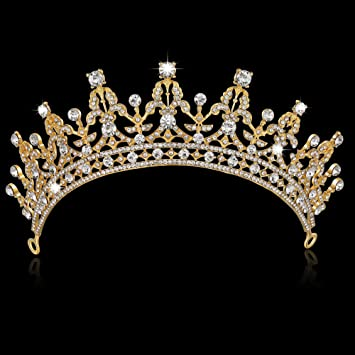 Amazon.com   BABEYOND Crystal Queen Tiara Crown Rhinestones Pageant  Quinceanera Crown Prom Princess Tiara Crown Bridal Wedding Crown Tiara  Headband (Gold)   ... 5d84c80031d1