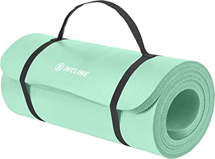 Amazon Com Incline Fit Exercise Mat Ananda 1 Extra Thick Exercise Mat With Strap Non Slip Workout Mat For Yoga Pilates Stretching Meditation Floor Fitness Exercises Teal Sports Outdoors