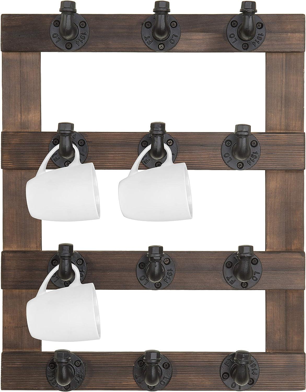 MyGift 12 Hook Wall Mounted Rustic Wood & Industrial Pipe Coffee Mug Rack