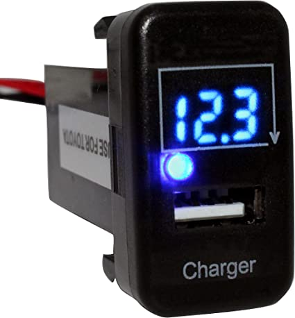 Cllena Toyota USB Charger + Voltmeter Tester 1.9ft Wiring and Fuse on