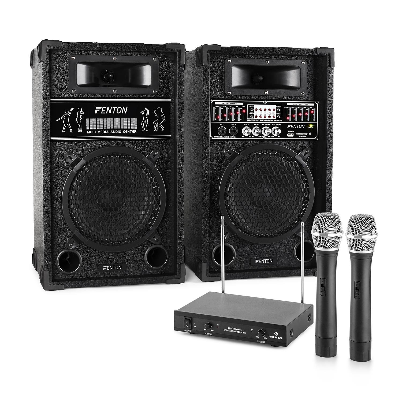 Electronic-Star Chaîne karaoké STAR-10 (Enceintes Sono Actives Set micros, 800W, 1 x Enceinte Active, 1 x Enceinte Passive, 2 x Microphones sans Fil, 1 x récepteur sans Fil) Electronic Star