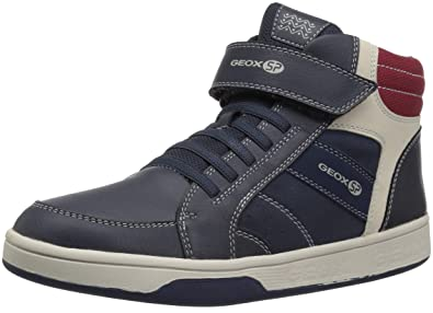 fb9fd6627e8 Geox Maltin Boy 18 High Top Sneaker, Navy/red, 27 Medium EU Toddler