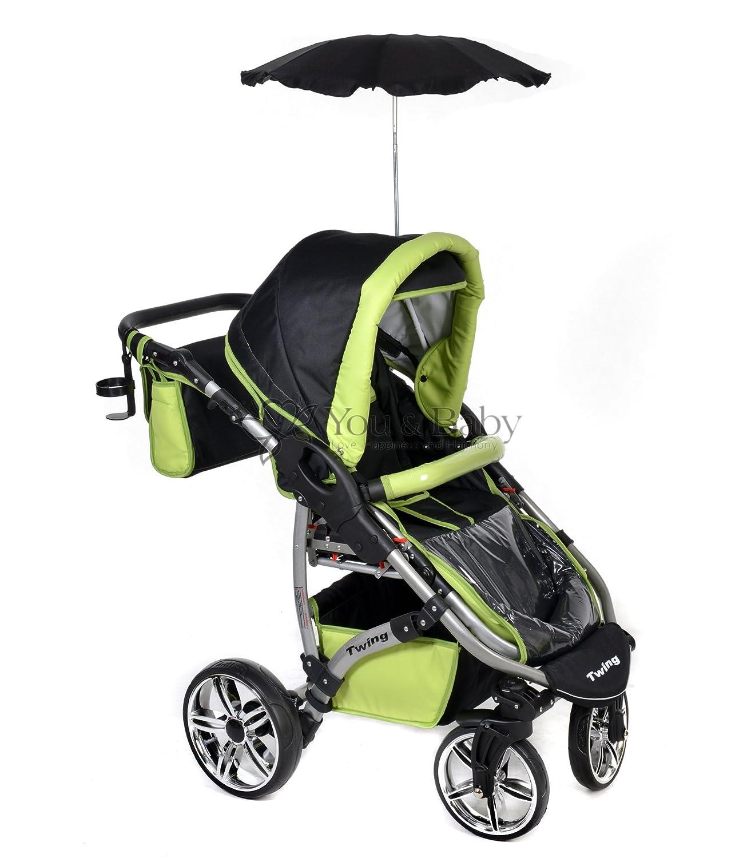 carrito con capazo y silla de coche RUEDAS GIRATORIAS y accesorios Sistema de viaje 3 en 1, negro, verde Twing silla de paseo Sistema de viaje 3 en 1