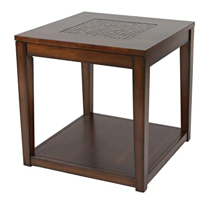 Homelegance Antoni Stylish End Table With Mosaic Tile Insert Top, Brown  Cherry