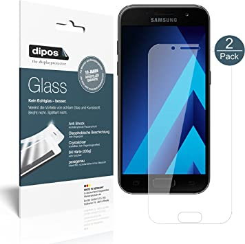 dipos I 2X Protector de Pantalla Compatible con Samsung Galaxy A3 (2017) Vidrio Flexible Cristal Proteccion 9H: Amazon.es: Electrónica