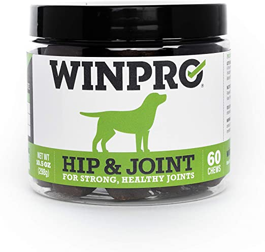 WINPRO All-Natural Hip & Joint Supplement for Dogs, 60 Chews (10.5 oz) - Sourced & Made in USA, Grain Free Joint Support