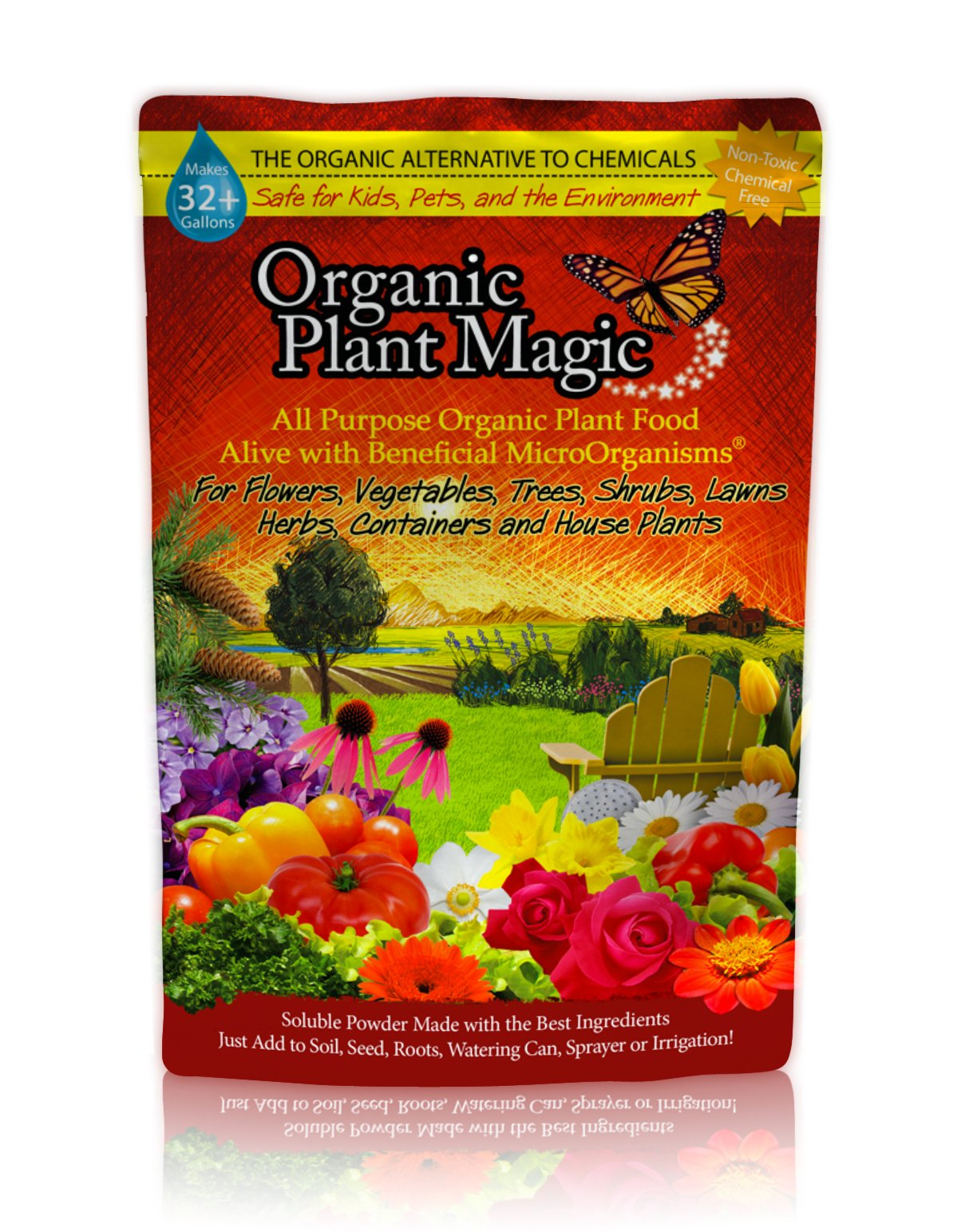 Plant Magic Plant Food 100% Organic Fertilizer - Easy to Use All Purpose for Indoor Houseplants, Outdoor Flowers, Tomatoes and All Vegetables and Trees (also known as instant Compost Tea) 1/2 lb