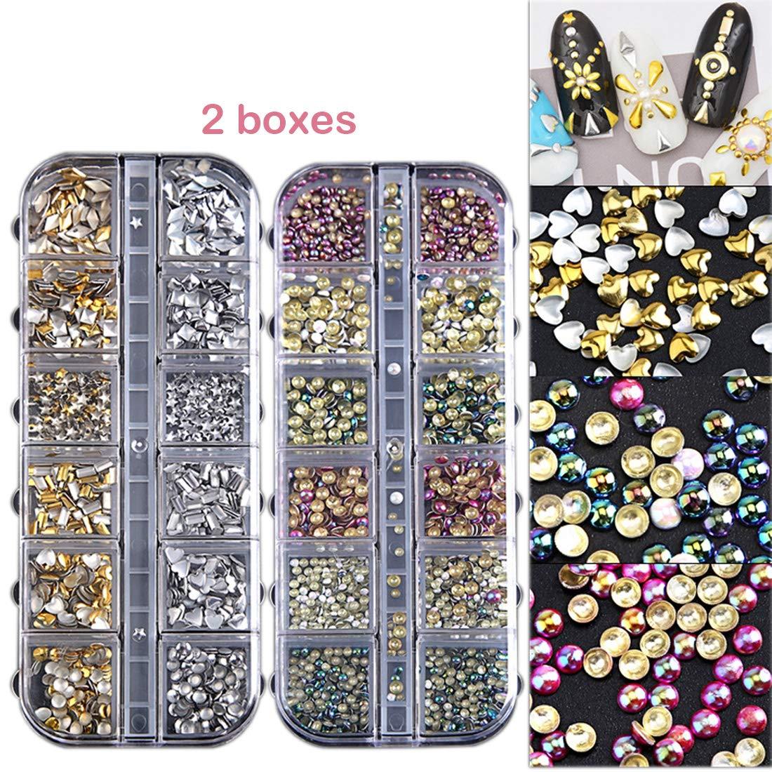 2 Boxes Nail Rhinestones Kit Mixed Sizes DIY Metallic 3D Nail Rivets Studs Colorful Nail Art Charm Decoration by Miss Callory