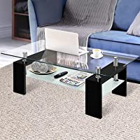 Artiss Coffee Table 2 Tier Tempered Glass Stainless Steel High Gloss MDF Board Storage Shelf Modern Furniture Home…