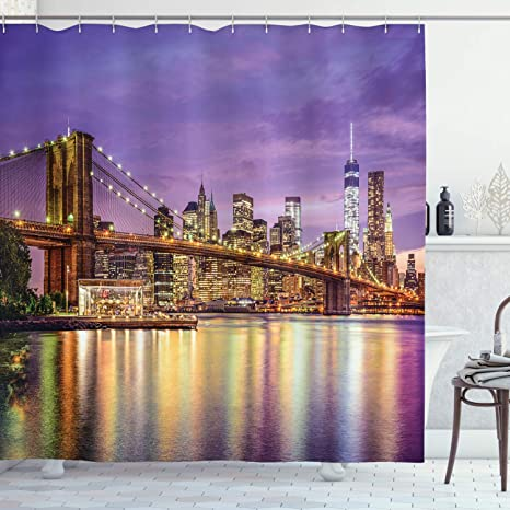 Amazon Com Ambesonne New York Shower Curtain Nyc Exquisite Skyline Manhattan Broadway Old Neighborhood Tourist Country Print Cloth Fabric Bathroom Decor Set With Hooks 75 Long Purple Gold Home Kitchen