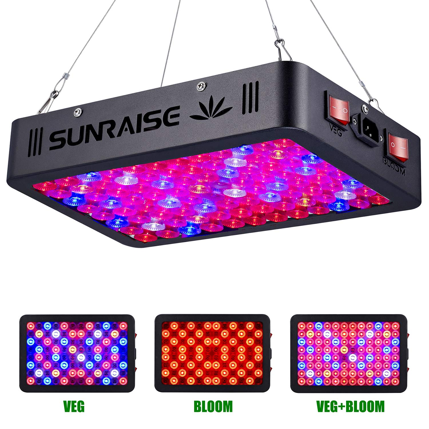 1000W LED Grow Light Full Spectrum for Indoor Plants Veg and Flower SUNRAISE LED Grow Lamp with Daisy Chain Triple-Chips LED (15W LED) by SUNRAISE