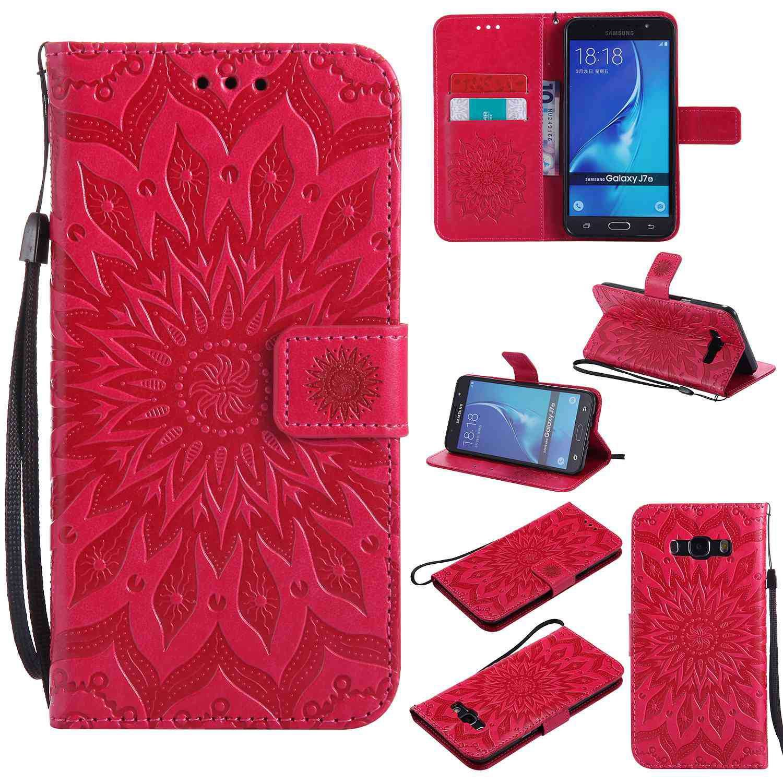 pinlu® Flip Funda de Cuero para Samsung Galaxy J7 (2016) J710 Carcasa con Función de Stent y Ranuras con Patrón de Girasol Cover (Rojo)