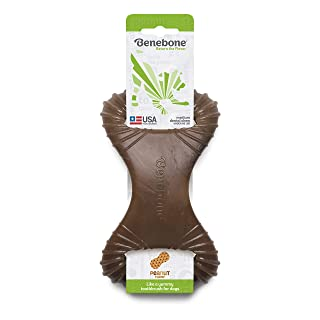 Benebone Dental Dog Chew Toy for Aggressive Chewers, Long Lasting, Made in USA, Medium, Real Peanut Flavor