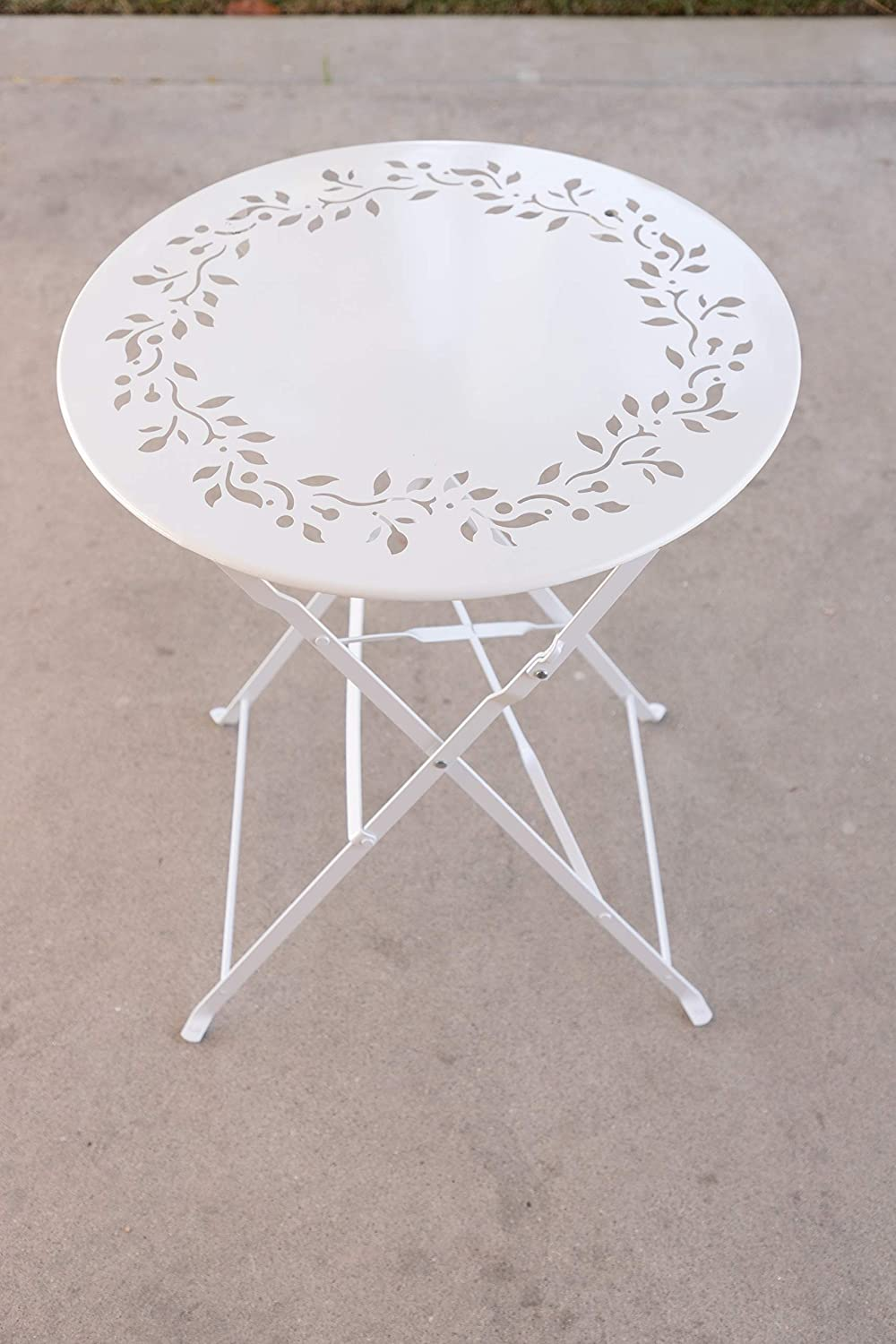 Alpine Corporation 3-Piece Floral Metal Bistro Set – Outdoor Conversation Set for Patio, Yard, Garden – White