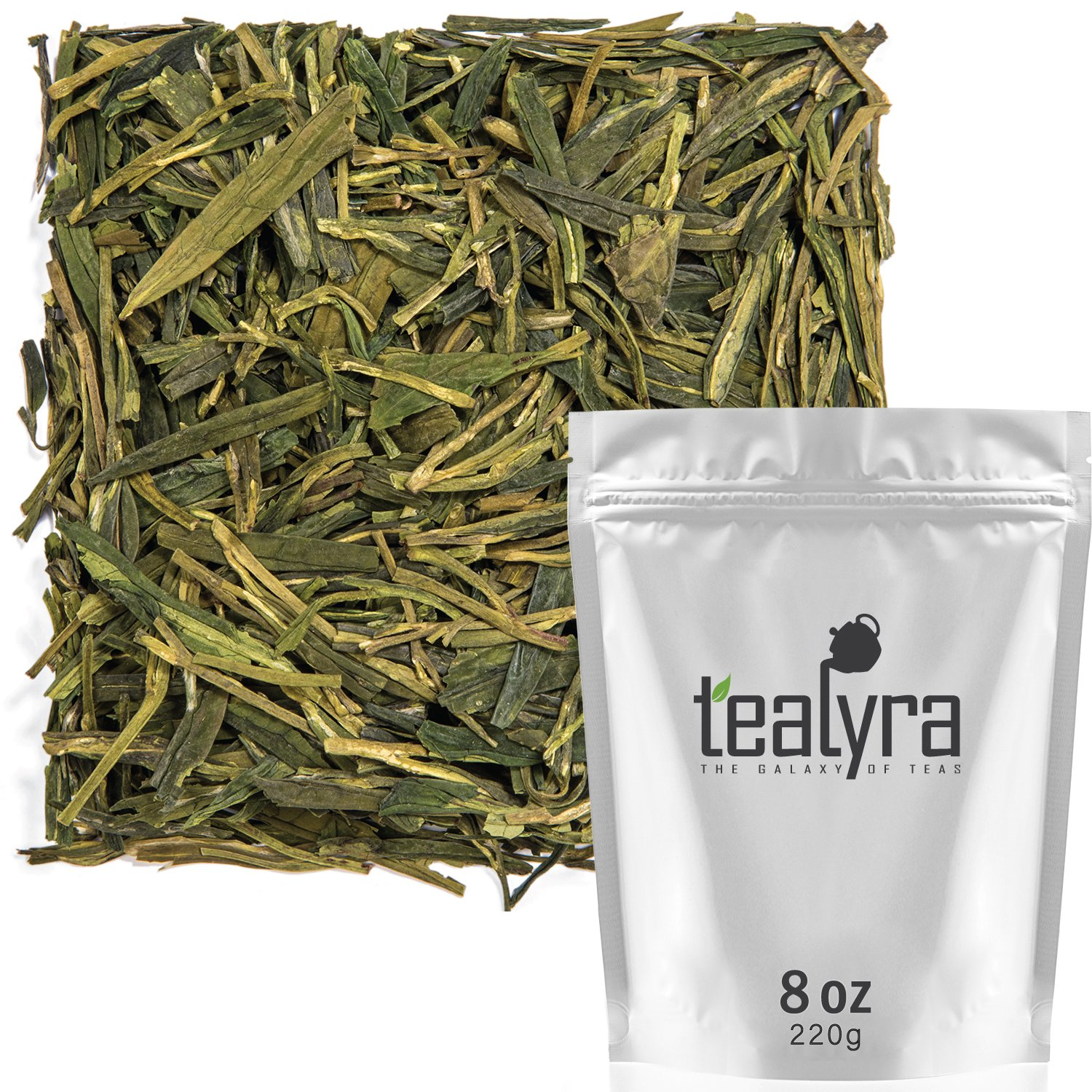 Tealyra - Premium Dragon Well - Long Jing - Green Tea - Loose Leaf Tea - First Grade - Organically Grown - 8-Ounce