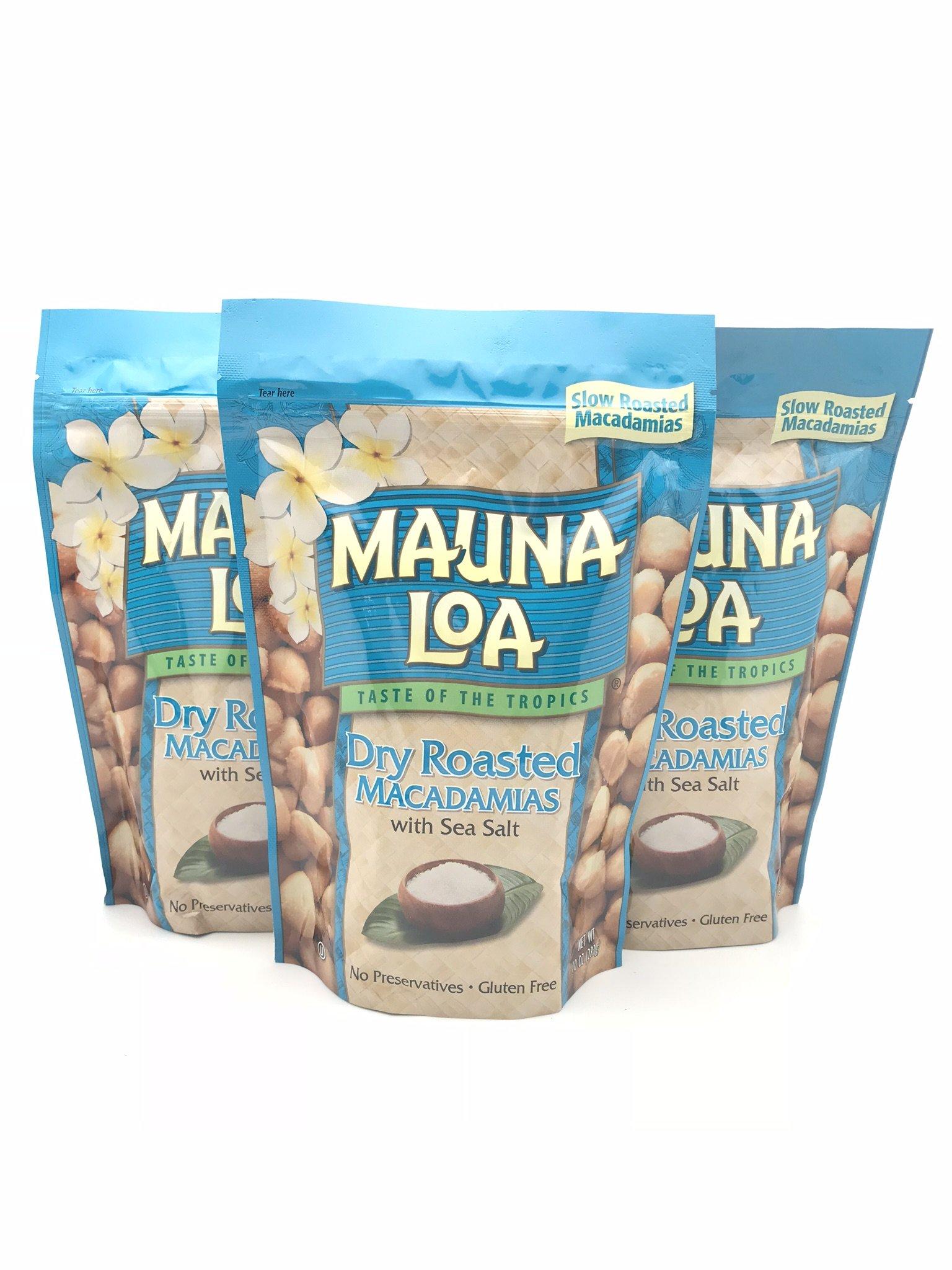 Mauna Loa Dry Roasted With Sea Salt Macadamia Nuts, 10-Ounce Package (Pack of 3)