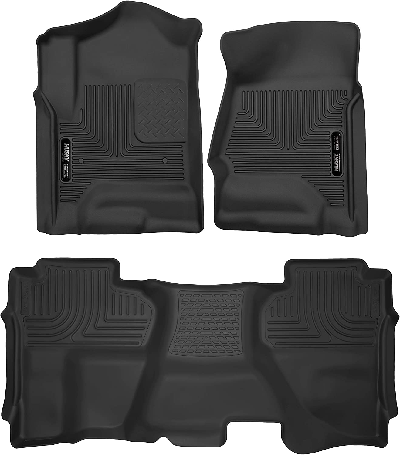 2019 Chevrolet//GMC Silverado LD//Sierra Limited 1500 Double Cab X-act Contour Front Floor Liners Husky Liners Fits 2014-18 Chevrolet//GMC Silverado//Sierra 1500 Double Cab 53918