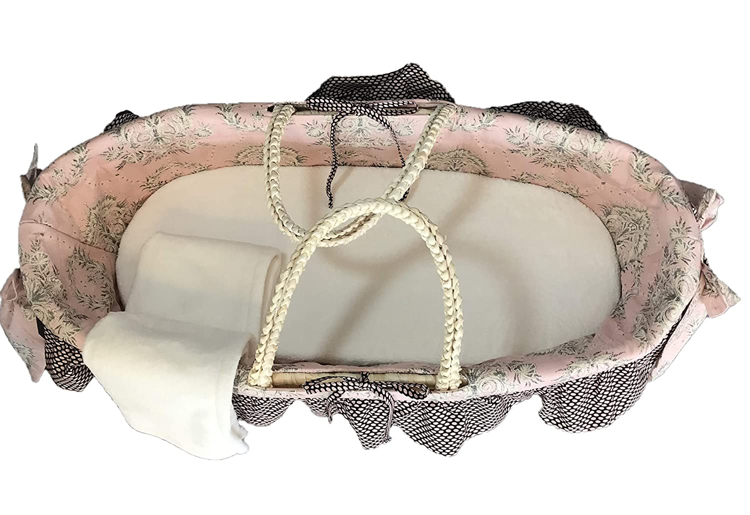Wicker Moses Basket by Cotton Tale Baby Shower Gift Elegant Pink and Brown Floral /& Polka Dot Ruffle with Bow Perfect for Baby Girl Nightingale