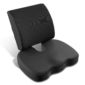 ALDORANDO Kit Cojines de Espuma de Memoria ergonomicos, cojin ortopedico de coxis, cojin Lumbar