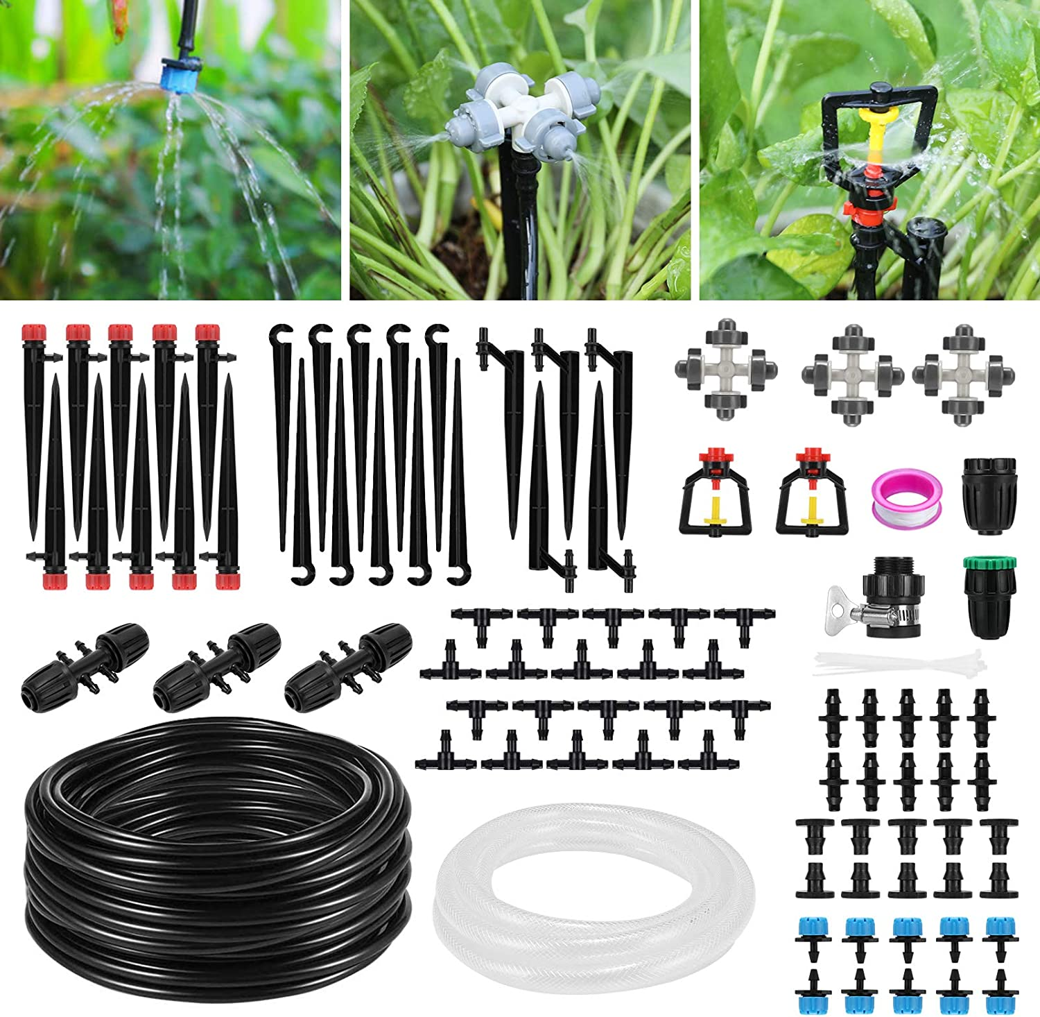 Drip Irrigation Kit, Homga 130ft/40M Plant Watering System, Automatic Garden Irrigation with Extra 10ft Main Line and Adjustable Sprinkler Nozzles for Lawn Greenhouse