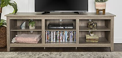 WE Furniture 70u0026quot; Wood Media TV Stand Storage Console, Driftwood