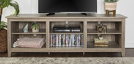 WE Furniture 70u0026quot; Wood Media TV Stand Storage Console, Driftwood