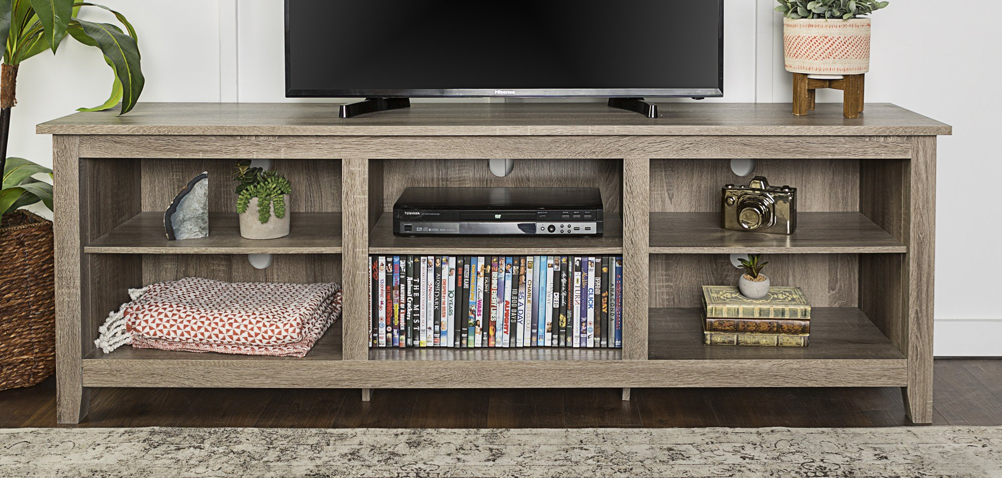 WE Furniture 70'' Wood Media TV Stand Storage Console, Driftwood