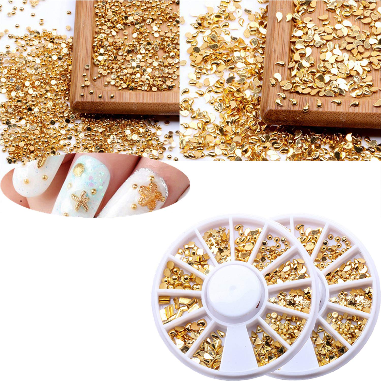 2 Boxes Acrylic Nail Art Nail Gems 3D Nail Art Rhinestone Gold Decal 12 styles Mixed Patterns Triangles hearts water drops square etc (LED Light Cure Needed) For Salon Nail Art DIY