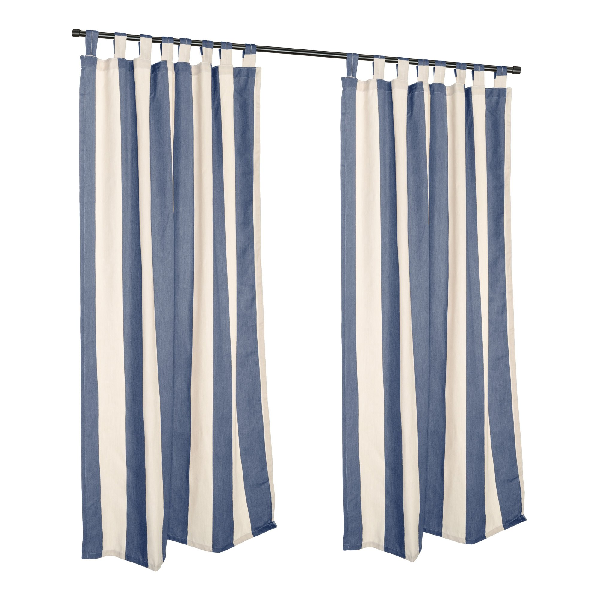 DFOHome Regency Indigo Sunbrella Tab Top Outdoor Curtain - 50'' W x 108'' L
