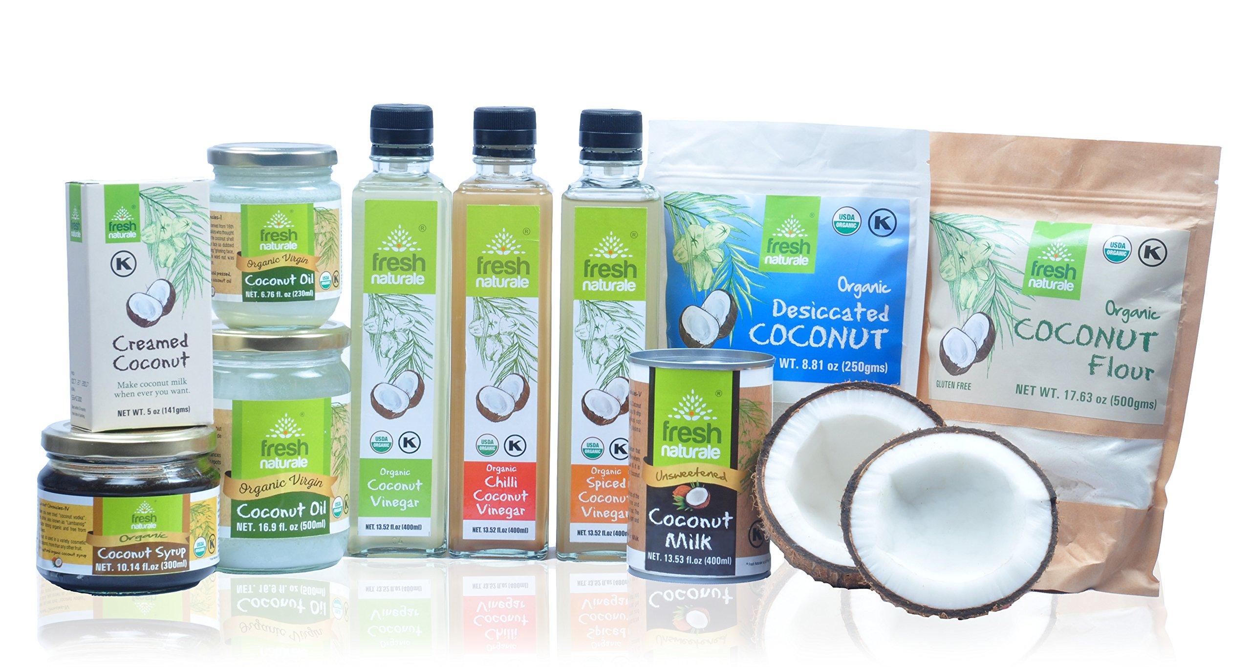 Everything Coconut (8) ITEMS: Coconut Syrup, Spiced Coconut Vinegar, Creamed Coconut, Desiccated Flour, Coconut Flour, Coconut Milk, Coconut Butter, and Coconut Oil 16.9 Oz