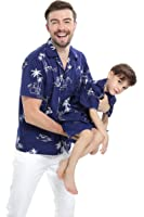 Hawaii Hangover Matching Father Son Hawaiian Luau Outfit Men Shirt Boy Shirt Shorts Navy Classic Flamingo