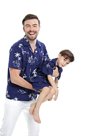 dedcde13b Matching Father Son Hawaiian Luau Outfit Men Shirt Boy Shirt Shorts Navy  Classic Flamingo: Amazon.co.uk: Clothing