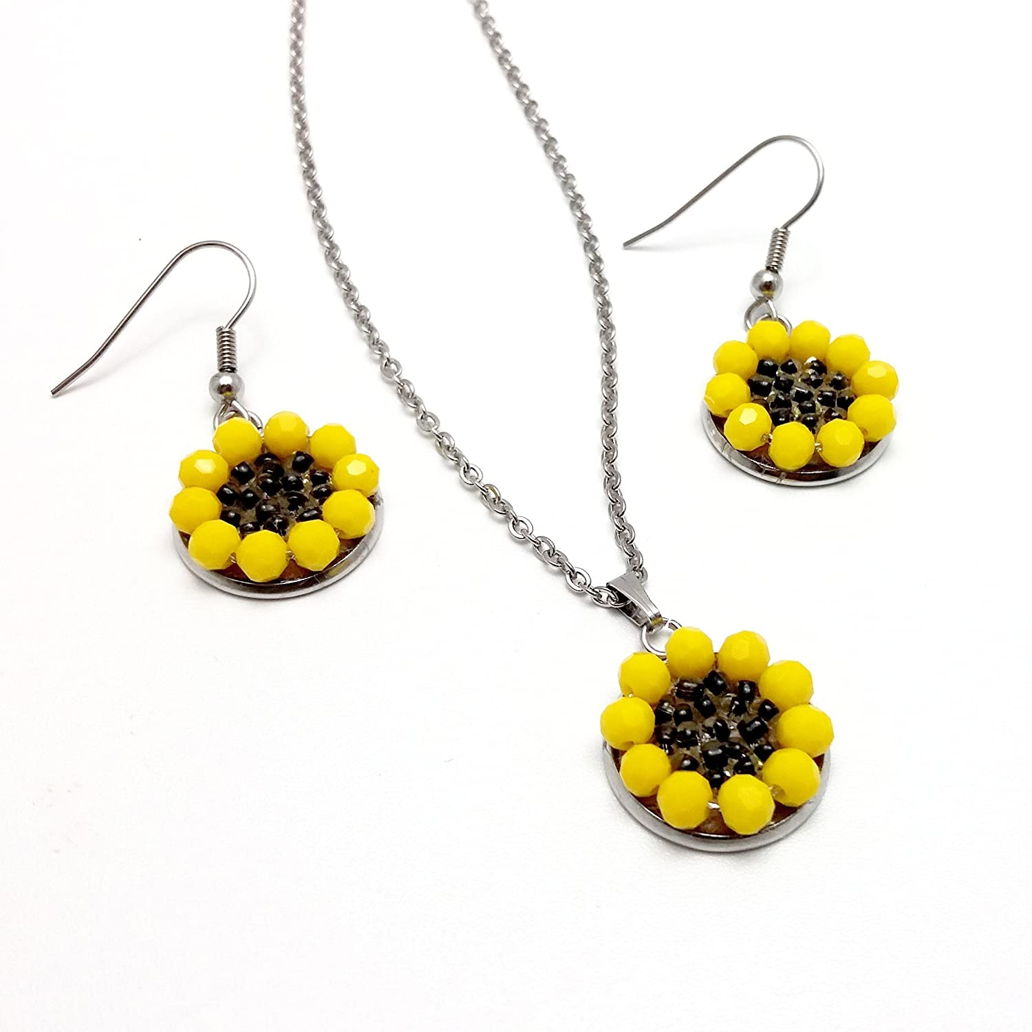 Sunflower Jewelry Sets, Stainless Steel Jewelry Sets, Crystals Jewelry, Handmade Jewelry, Elegant Women Pendant, Gift for Women, Floral Design