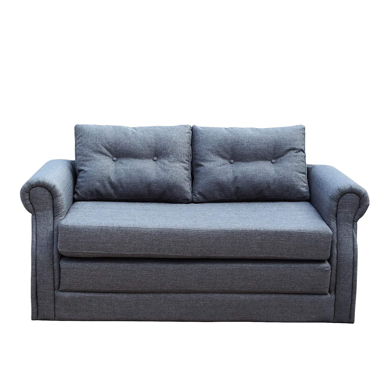 Amazon.com: NSIUSA Lucca Dark Grey Convertible Loveseat ...