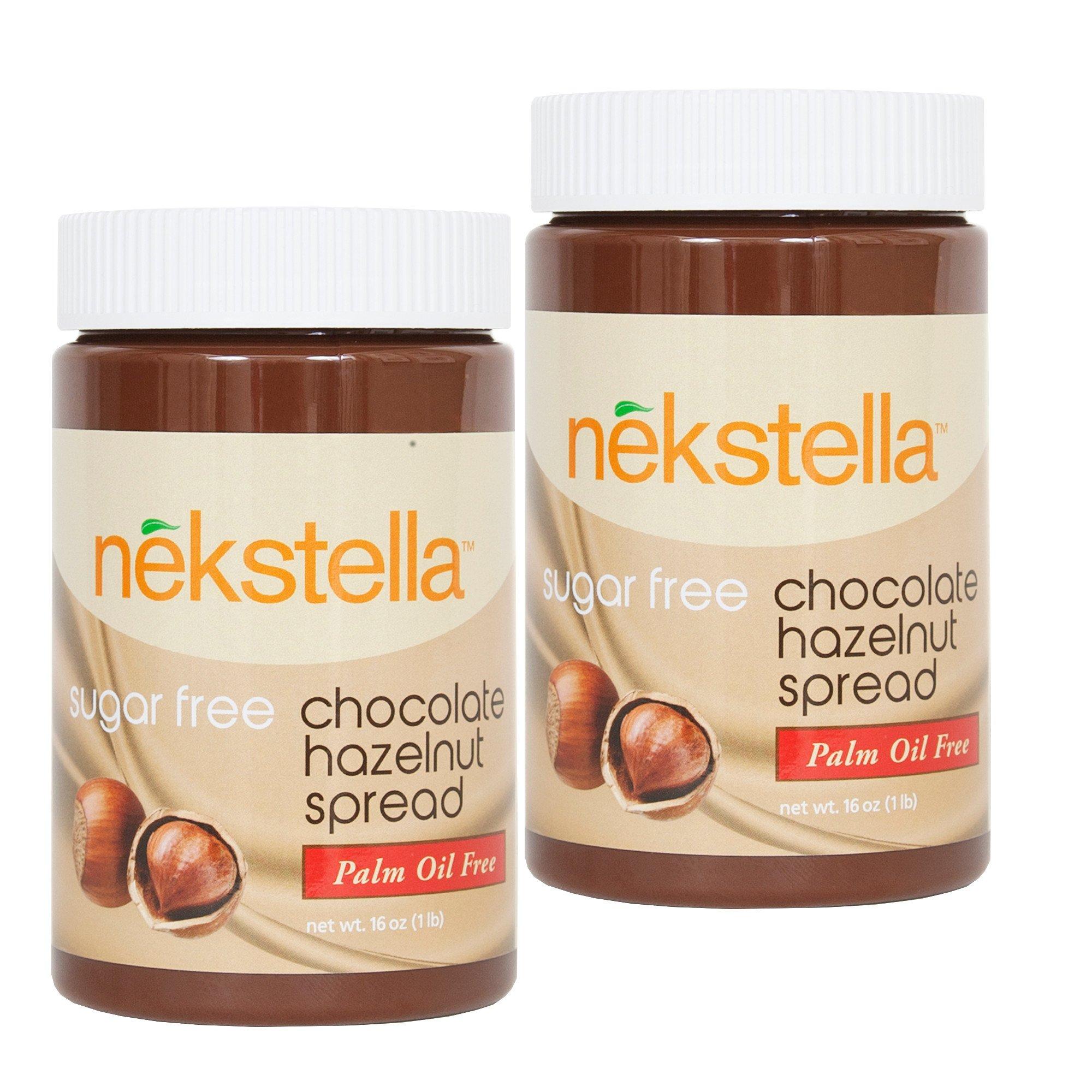 nekstella 16 oz jar Sugar Free Low Carb Chocolate Hazelnut Spread - (2 pack) by nekstellaTM