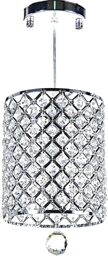 Diamond Life Chrome Finish 1-light Round Metal Shade Crystal Chandelier Hanging Pendant Ceiling Lamp Fixture, 359