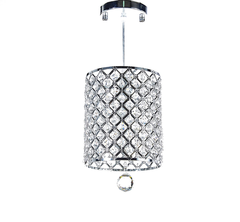 MonaLisa Gallery Modern Silver Crystal Chandelier Ceilling Pendant Light Fixture SML-359-X-W7-Silver