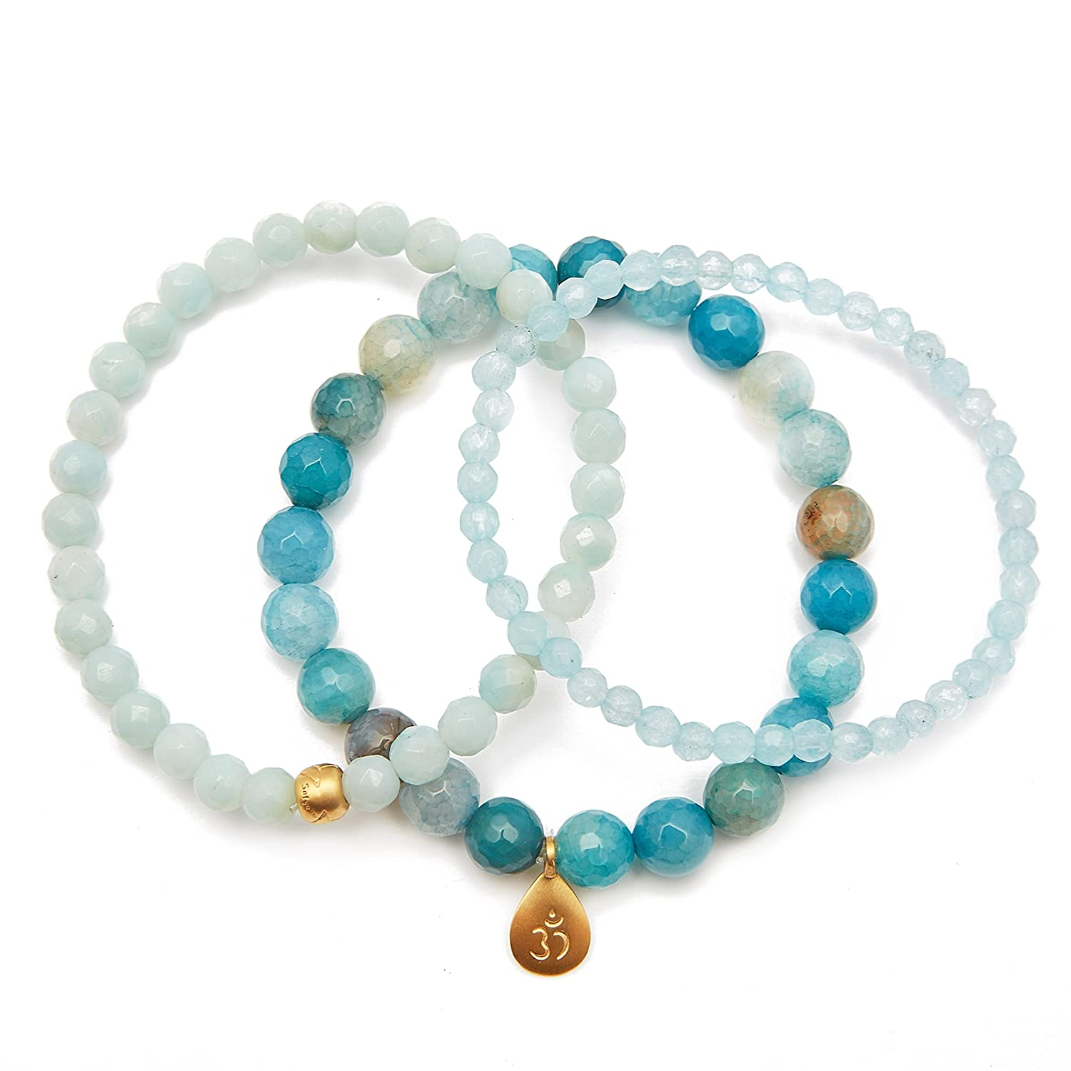 54a931dfd ... Satya Jewelry Womens Blue Agate and Angelite Gold Om Lotus Stretch  Bracelet Set, One Size