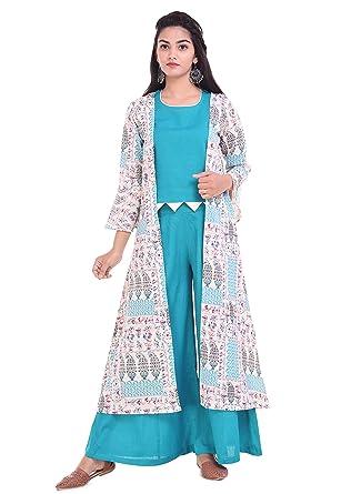 abfd0d68a8 RAJMANDIRFABRICS Women's Cotton Flex Jacket,Top With Palazzo  (PK1015806-M_Medium,OFF White
