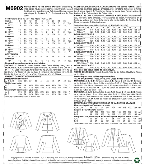 Amazon.com: McCall Pattern Company M6902 Misses/Miss Petite Lined Jackets Sewing Template, Size F5 (16-18-20-22-24): Arts, Crafts & Sewing