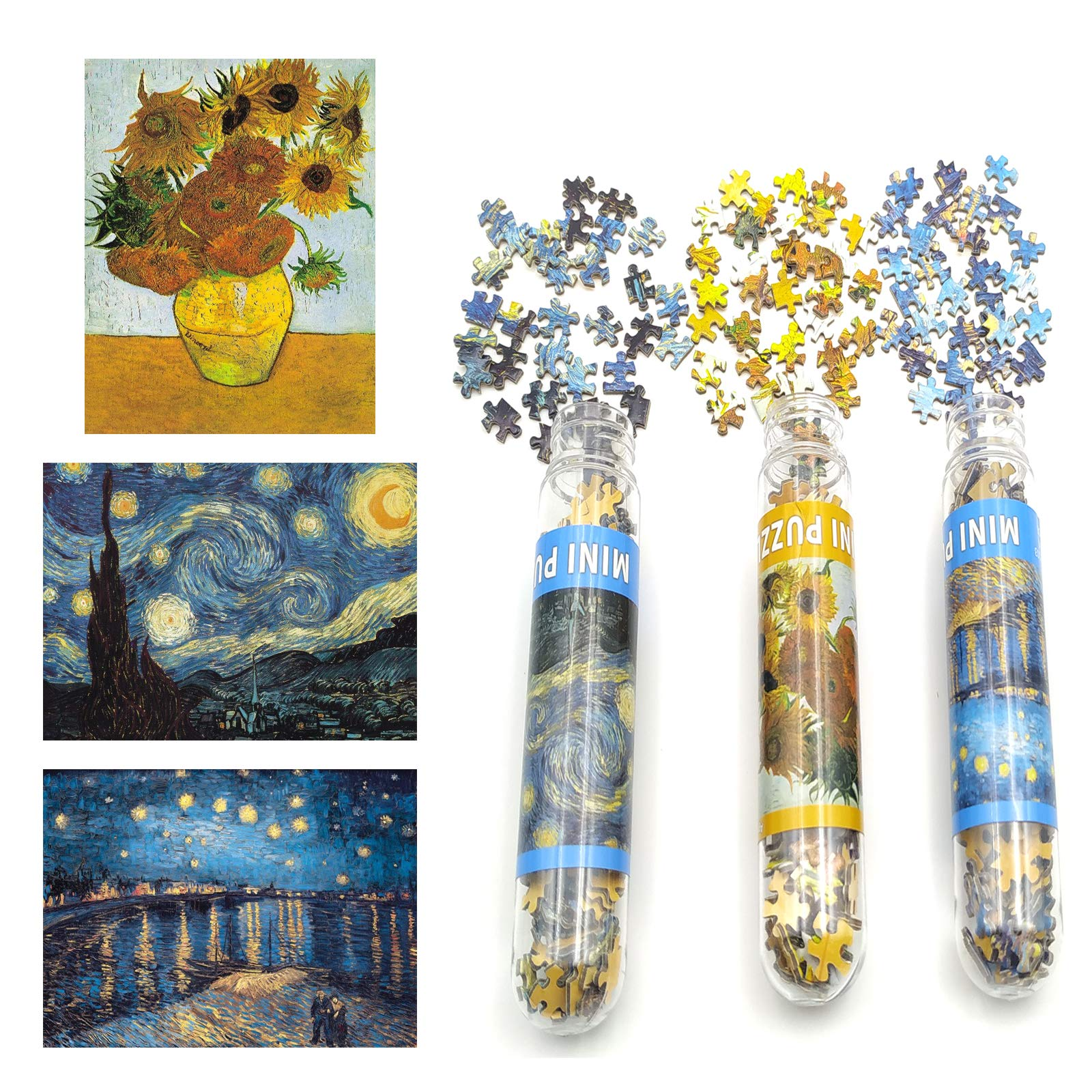 Small Jigsaw Puzzles for Adults Challenging Puzzle Small Difficult Puzzles Mini Jigsaw Puzzles for Adults 150 Pieces Small Jigsaw Puzzle Starry Night Rhone River Sunflower 6 x 4 Inches, 3 Pack